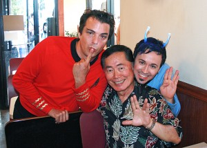 Marc Felion, George Takei and Fausto Fernós at Chicago's Pride Parade, June 2006.