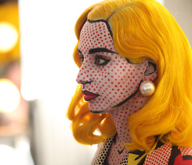 comic-book-lady. Check out this make-up artist as she painted a woman to