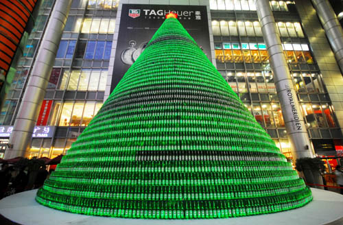 Christmas Tree Made From Beer Bottles