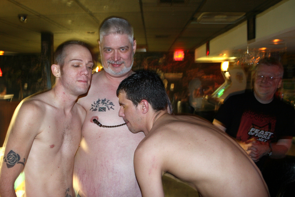 Strippers with a Leather Daddy and FOF fan at the End Up Bar in Tulsa, OK