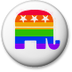 Republican elephant in rainbow stripes