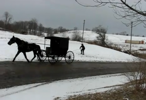 VIDEO: Amish Skier Pulled by Buggy