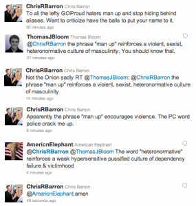 Twitter exchange between conservative GOProud Chairman and a sensitive soul.