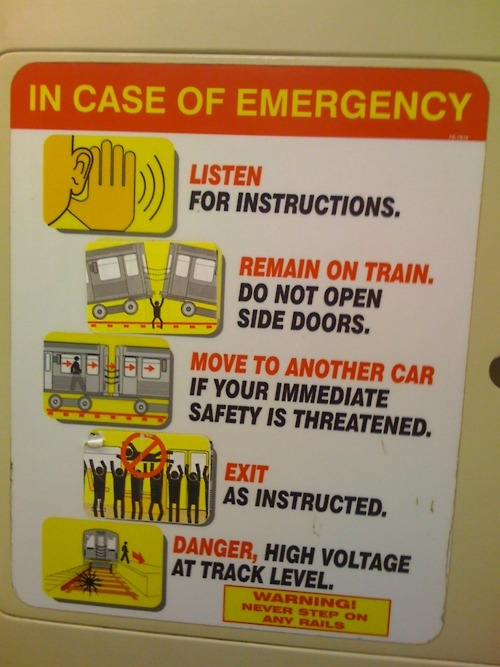 IMAGE: Fake Safety Instructions on Chicago's Red Line