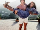 Donna Summer with Arnold Schwarzenegger at her home in Los Angeles in 1977