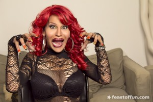 PHOTOS: Reina Valentino in a Red Wig, Black Wheelchair