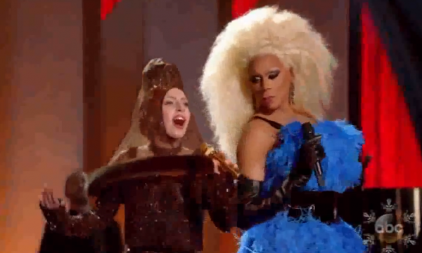 RuPaul gives some side eye to Lady Gaga dressed up as a brown condom.