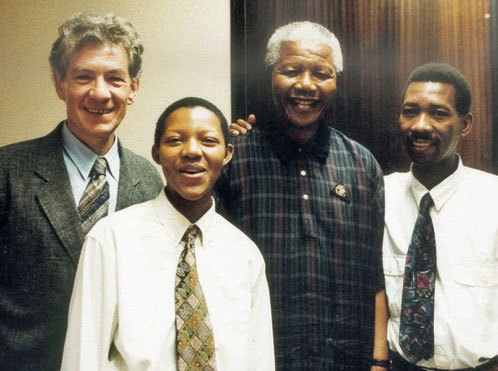 Gandalf meets Mandela. In 1995 Sir Ian McKellen had a meeting with South Africa's newly elected president Nelson Mandela, where he encouraged the new leader to include LGBT protections in the country's new constitution. Pictured alongside are two gay rights activists at the time, Phumi Mtetwa and Simon Nkoli.