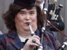 Susan Boyle playing the bagpipes