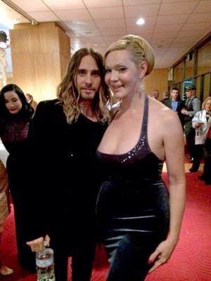 "Oscar winner Jared Leto with the woman who helped him prepare for the role, Calpernia Addams.  ""Beware: the same logic that leaves zero room for a non-trans actor to try a trans role will then be used to mandate that trans actors should not be able to play non-trans roles. That would piss me off."""