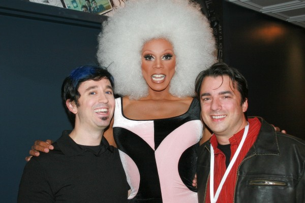 Fausto Fernós cops a feel from RuPaul with Marc Felion. Photo: Fausto Fernós.