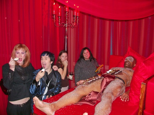 Eating desserts off a naked muscle guy at the World of Chocolate with Victoria Lamarr. Dec. 12, 2005. Photo: Jason Smith.