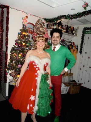 Lynne Marie Stewart as Miss Yvonne with her wig stylist Stephen Perfidia Kirkham. Perfidia says Lynne Marie was moved to tears when she saw her Christmas wig again after so many years. Photo: Steven Perfidia Kirkham.