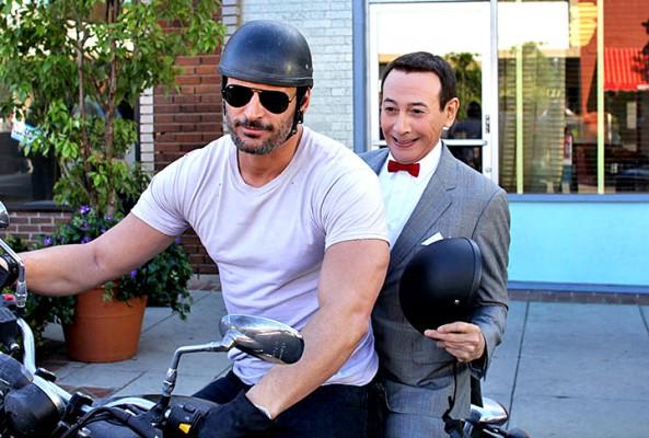 Joe Manganiello gives Pee Wee Herman a ride in Pee Wee's Big Holiday, coming soon to Nexflix.