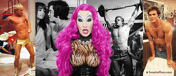 """Hollywood's camp films disposable beefcake, from left to right: Peter Hinwood as Rocky in """"The Rocky Horror Picture Show"""" (1975), David Gurian as Harris Ellsworth in """"Beyond the Valley of the Dolls"""" (1970) Dennis Busch as The Vegetable in """"Faster Pussycat! Kill! Kill!"""" (1965), and Roger Herren as Rusty Godowski in """"Myra Breckenridge"""" (1970). Photo of Peaches Christ: Jose A Guzman Colon."""