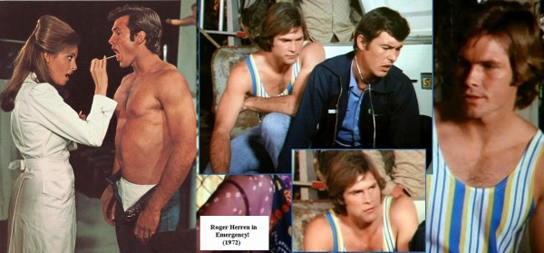 """Roger Herren as Rusty Godowski with Raquel Welch in """"Myra Breckenridge"""" (1970). He later appeared in 1972 as """"the guy in the tank top"""" in an episode of the TV drama """"Emergency!"""" He died in 2004, but was active in helping organize piano concerts at the Santa Barbara Music Club."""