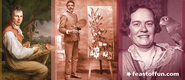 Flower power. Although they never identified as gay or straight, pioneering scientists Alexander Von Humbolt and George Washington Carver both wrote about their love of flowers and men. Also in the image collage is an awesome photo of anthropologist Margaret Mead with a parrot.