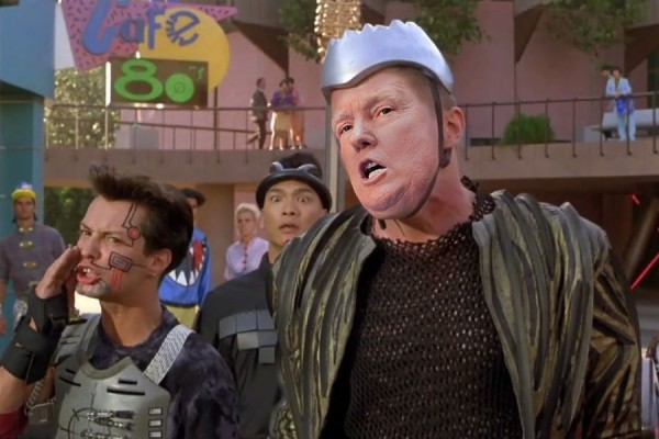 """""""Biff—great guy, good friend of mine—they ruin his life! Doc and Marty—total losers. Can't win without time machine. """" President Trump as Biff in Back to the Future 2."""
