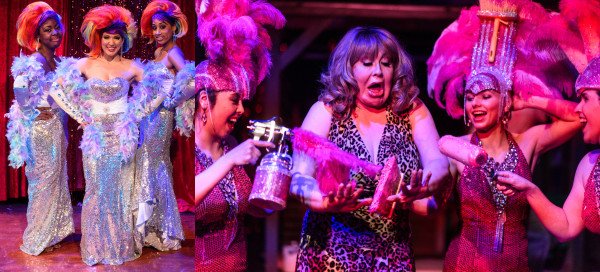"Think pink: Tuesdai, Jill and Rebecca transform Honey West into a glitter goddess in Pride Films and Plays production of ""Priscilla Queen of the Desert."" Photo: John Olson."