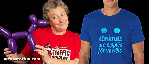 Amanda Cohen with the new Umlauts Are Nipples for Vowels T-Shirt. Click here to order yours.