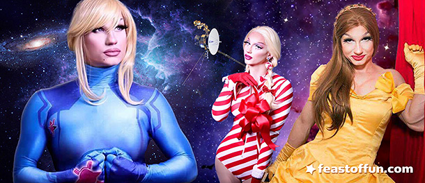 Alex Kay in her many drag looks and personals: 0 Suit Samus, Spear Mint (Lil' Miss Deltoids), Butch Belle. Photos: Joe Lewis Creative and Erik Michael Kommer.