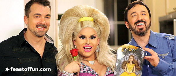Marc Felion, Jaymes Mansfield and Fausto Fernós pose with the unfortunate looking Emma Watson Beauty and the Beast doll. Photo: Jeff Knutson.