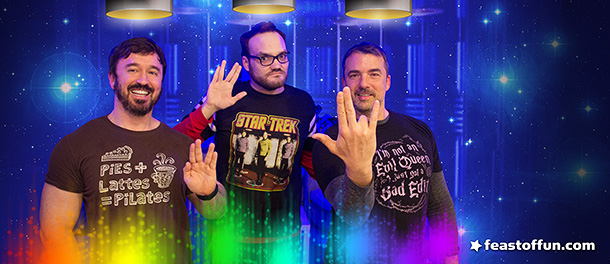 Fausto Fernós,  Brian Sweeney and Marc Felion want you to live long and prosper, but also remember it's two in the pink and one in the stink. Photo: Fausto Fernós.