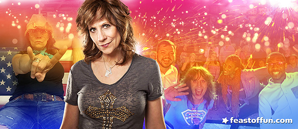 Roll up! Lizz Winstead in Vagical Mystery Tour is going to take you away, hopefully to a world where Republicans and Trump aren't in charge of anything. Photo: Mindy Tucker.