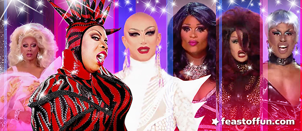 """Sasha Velour announced upon her crowning: """"Let's get inspired by all this beauty and change the motherf*cking world."""" RuPaul, Vivacious, Sasha Velour, Peppermint, Shea Couleé. Photos: LOGO TV, William Dick Photography."""