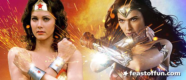 Lynda Carter as Wonder Woman in 1975, Gal Godot as Wonder Woman in 2017. Photos courtesy of: CBS Television, WB Studios.