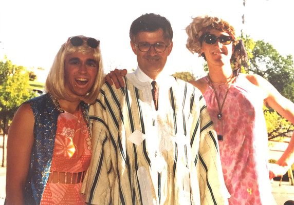 Young drag queens will change the world. Fausto & Lake with the Dean of the School of Fine Arts of the University of Texas, Austin. April 1, 1993. Photo: Fausto Fernós.