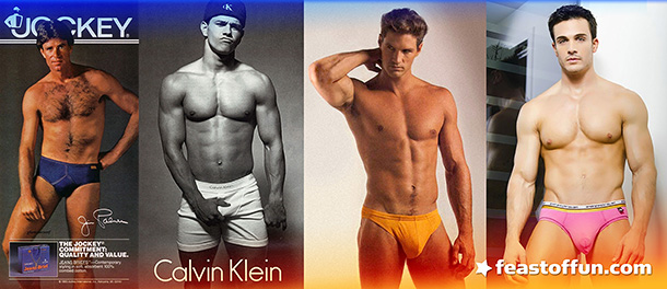"Different hunk, same package. From left to right, the eroticization of men's underwear through the years: (Late 70s) Major League Baseball star Jim Palmer for Jockey, (Mid 80s) Mark ""Marky Mark"" Walhberg for Calvin Klein, (Mid 80s) Playgirl model Brian Buzzini for International Male, and (2013) Philip Fusco for Andrew Chrsitian."