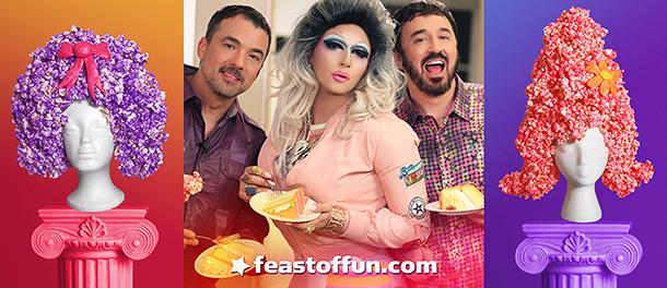 Fox E. Kim joins Marc Felion & Fausto Fernós on kicking off Cooking with Drag Queens Season 3. Photos: Jeff Knutson, Fausto Fernós.