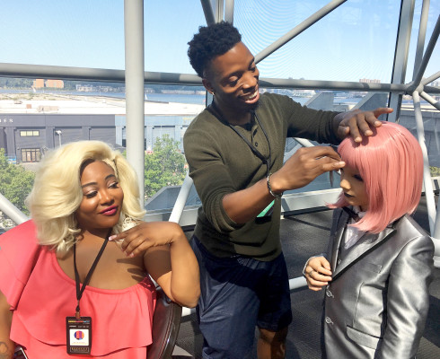 Generations of gender: TS Madison warns a young Lactacia not to Google her name as her stylist preps her up to meet Vivacious. Photo: Fausto Fernós.