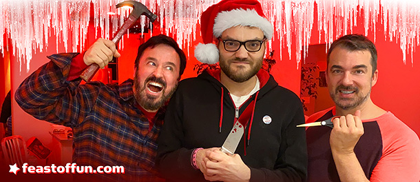 Fausto Fernós, Brian Sweeney and Marc Felion get  into the spirit of the holiday season: murder. Photo: Fausto Fernós.